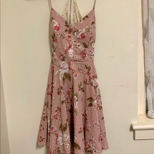 Pink, rose print dress with lace back w/zipper